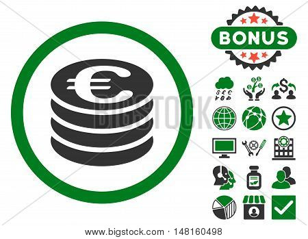 Euro Coin Column icon with bonus images. Vector illustration style is flat iconic bicolor symbols, green and gray colors, white background.