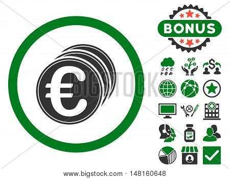 Euro Coins icon with bonus elements. Vector illustration style is flat iconic bicolor symbols, green and gray colors, white background.