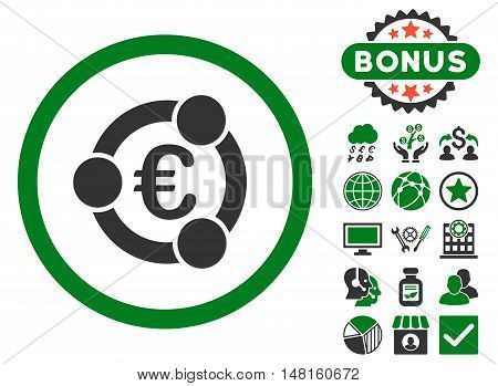 Euro Collaboration icon with bonus pictogram. Vector illustration style is flat iconic bicolor symbols, green and gray colors, white background.
