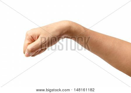 Hand of a woman or a man knocking isolated on white background Clipping path included.