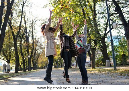 Three young ladies enjoying a day in nature