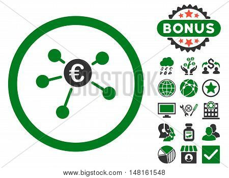 Euro Payments icon with bonus pictures. Vector illustration style is flat iconic bicolor symbols, green and gray colors, white background.
