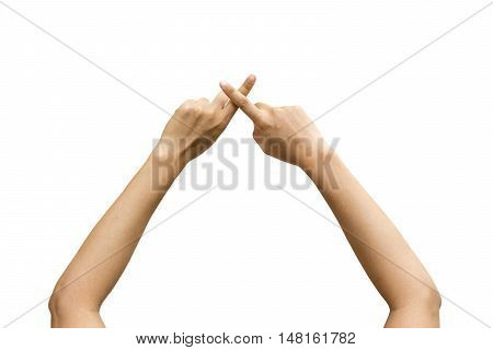 Male or female two hand finger cross isolated on white background Clipping path included.