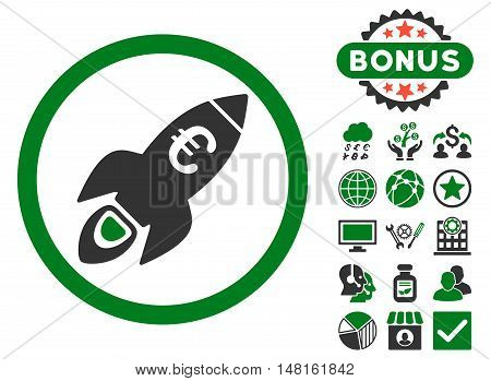 Euro Rocket Startup icon with bonus pictogram. Vector illustration style is flat iconic bicolor symbols, green and gray colors, white background.