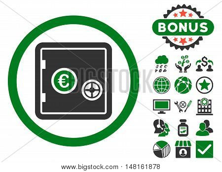 Euro Safe icon with bonus pictures. Vector illustration style is flat iconic bicolor symbols, green and gray colors, white background.