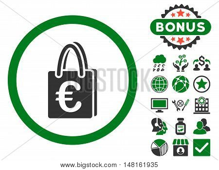 Euro Shopping Bag icon with bonus images. Vector illustration style is flat iconic bicolor symbols, green and gray colors, white background.