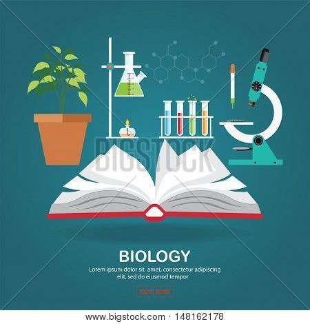Biology laboratory workspace and science equipment with Open book microscope coceptual Scientific research flat design vector illustration.