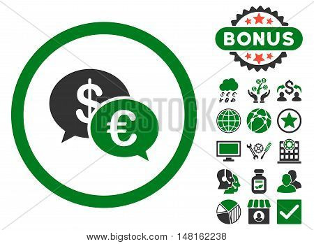 Euro Transactions icon with bonus images. Vector illustration style is flat iconic bicolor symbols, green and gray colors, white background.
