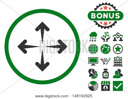 Expand Arrows icon with bonus design elements. Vector illustration style is flat iconic bicolor symbols, green and gray colors, white background.