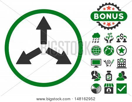 Expand Arrows icon with bonus pictogram. Vector illustration style is flat iconic bicolor symbols, green and gray colors, white background.