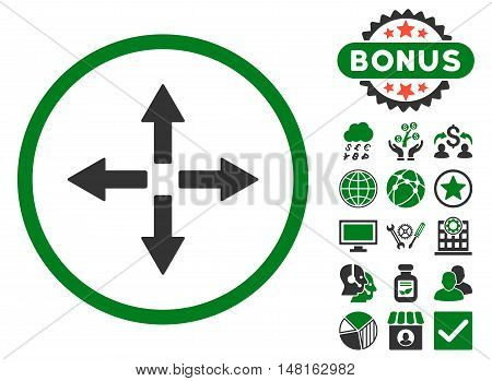 Expand Arrows icon with bonus pictures. Vector illustration style is flat iconic bicolor symbols, green and gray colors, white background.