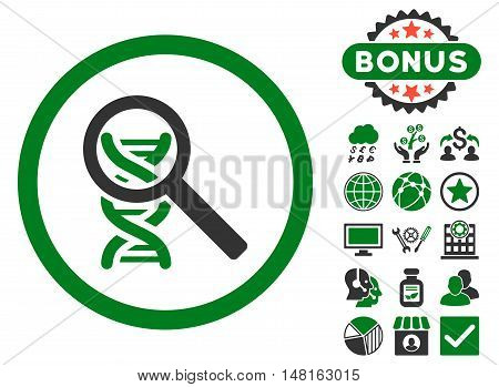 Explore DNA icon with bonus design elements. Vector illustration style is flat iconic bicolor symbols, green and gray colors, white background.