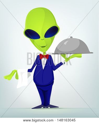 Cartoon Character Funny Alien Isolated on Grey Gradient Background. Waiter.