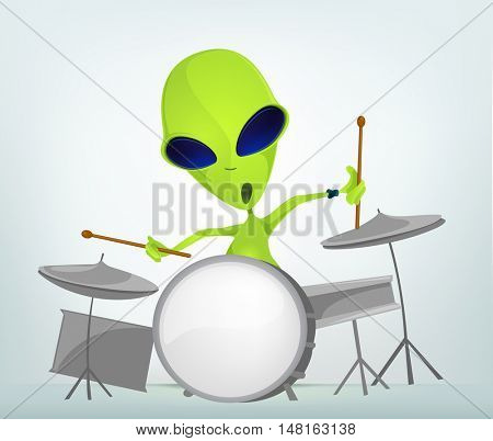 Cartoon Character Funny Alien Isolated on Grey Gradient Background. Drummer.
