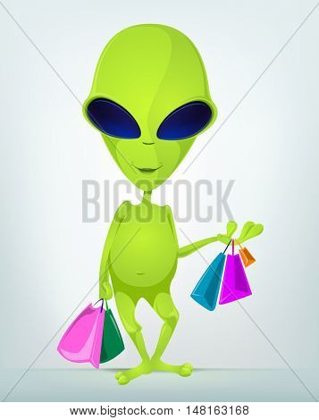 Cartoon Character Funny Alien Isolated on Grey Gradient Background. Shopping.