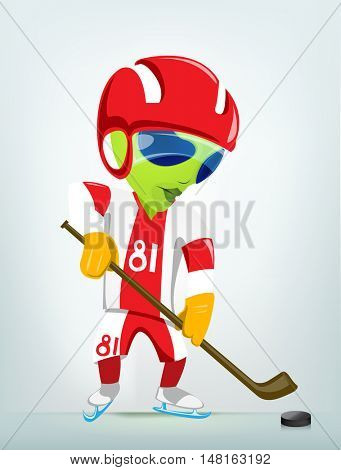 Cartoon Character Funny Alien Isolated on Grey Gradient Background. Hockey.