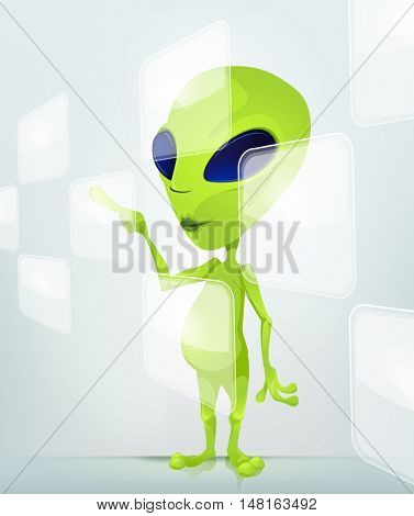 Cartoon Character Funny Alien Isolated on Grey Gradient Background. Touch Screen.