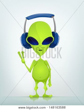 Cartoon Character Funny Alien Isolated on Grey Gradient Background. Listening to Music.