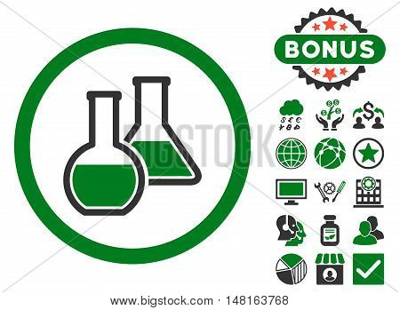 Glass Flasks icon with bonus pictogram. Vector illustration style is flat iconic bicolor symbols, green and gray colors, white background.