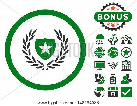 Glory Shield icon with bonus pictures. Vector illustration style is flat iconic bicolor symbols, green and gray colors, white background.