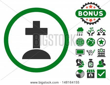 Grave icon with bonus pictures. Vector illustration style is flat iconic bicolor symbols, green and gray colors, white background.