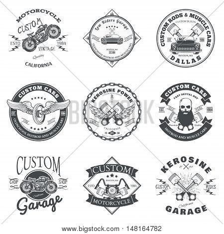 Set of Custom Car and Bike Garage Label and Badge Design Vector illustration