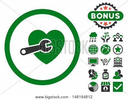 Heart Surgery icon with bonus symbols. Vector illustration style is flat iconic bicolor symbols, green and gray colors, white background.