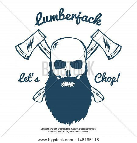 Lumberjack Skull with beard and Crossed Axes Vector illustration