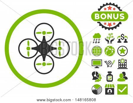 Air Copter icon with bonus images. Vector illustration style is flat iconic bicolor symbols, eco green and gray colors, white background.