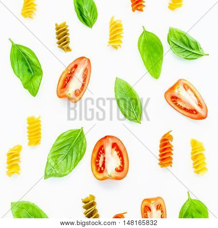 Italian Food Concept Pasta With Tomato And Sweet Basil Isolate On White Background. Pasta And Ingred