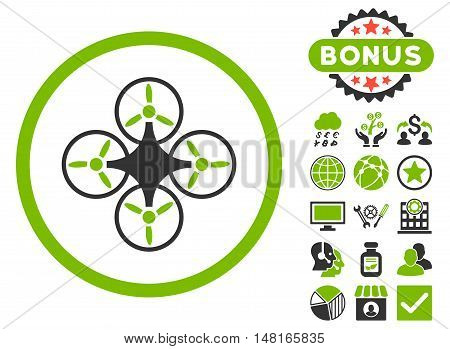 Air Drone icon with bonus images. Vector illustration style is flat iconic bicolor symbols, eco green and gray colors, white background.