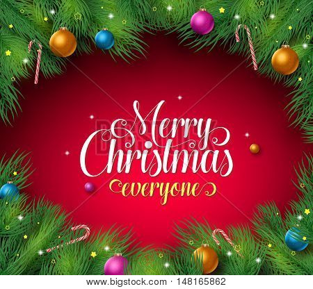Merry christmas text in a red background with pine leaves boarder and frame and colorful christmas balls and candies. Vector illustration