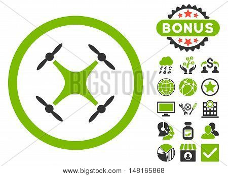 Airdrone icon with bonus images. Vector illustration style is flat iconic bicolor symbols, eco green and gray colors, white background.