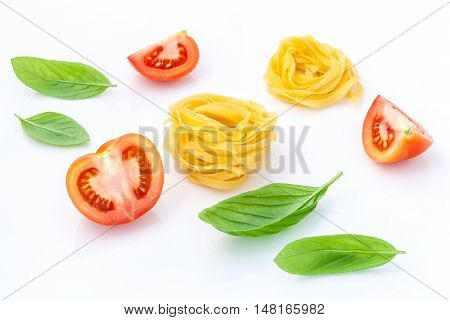 Italian Food Concept Pasta With Tomato And Sweet Basil Isolate On White Background..pasta And Ingrad
