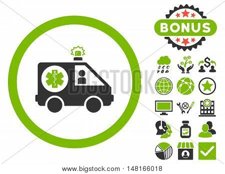 Ambulance Car icon with bonus symbols. Vector illustration style is flat iconic bicolor symbols, eco green and gray colors, white background.