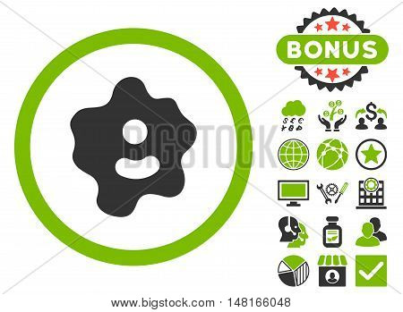 Ameba icon with bonus elements. Vector illustration style is flat iconic bicolor symbols, eco green and gray colors, white background.