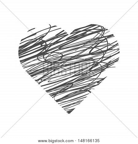 Valentine Day Hand Drawn Heart. Vector illustration