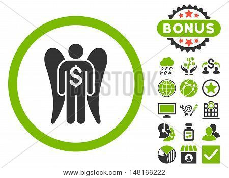 Angel Investor icon with bonus pictogram. Vector illustration style is flat iconic bicolor symbols, eco green and gray colors, white background.