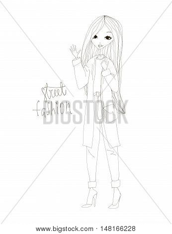 Street Fashion Illustration with a Fashion Girl Wearing Stylish Clothes. Black and White Street Fashion Typography Vector Illustration