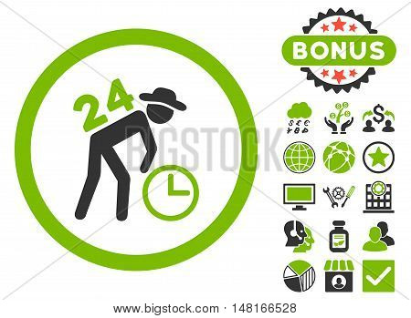Around the Clock Work icon with bonus pictures. Vector illustration style is flat iconic bicolor symbols, eco green and gray colors, white background.