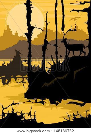 Silhouette of a deer in the forest looking at a lake on yellow abstract background. Eps10