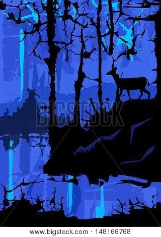 Silhouette of a deer in the forest looking at a lake on blue abstract background. Eps10