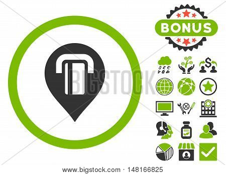 Atm Map Marker icon with bonus images. Vector illustration style is flat iconic bicolor symbols, eco green and gray colors, white background.