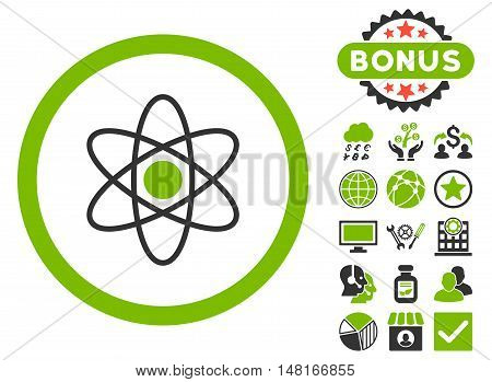Atom icon with bonus pictogram. Vector illustration style is flat iconic bicolor symbols, eco green and gray colors, white background.