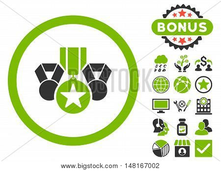 Awards icon with bonus pictures. Vector illustration style is flat iconic bicolor symbols, eco green and gray colors, white background.