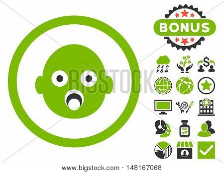 Baby Head icon with bonus pictogram. Vector illustration style is flat iconic bicolor symbols, eco green and gray colors, white background.
