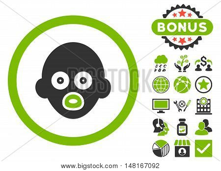 Baby Head icon with bonus elements. Vector illustration style is flat iconic bicolor symbols, eco green and gray colors, white background.