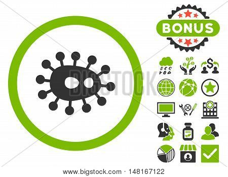 Bacilla icon with bonus images. Vector illustration style is flat iconic bicolor symbols, eco green and gray colors, white background.