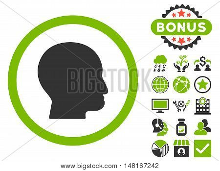 Bald Head icon with bonus elements. Vector illustration style is flat iconic bicolor symbols, eco green and gray colors, white background.