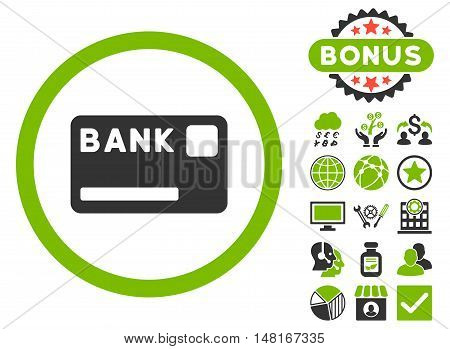 Bank Card icon with bonus design elements. Vector illustration style is flat iconic bicolor symbols, eco green and gray colors, white background.